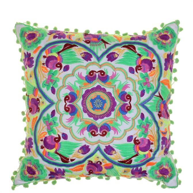 Bombay Duck Acapulco Embroidered Green Cushion