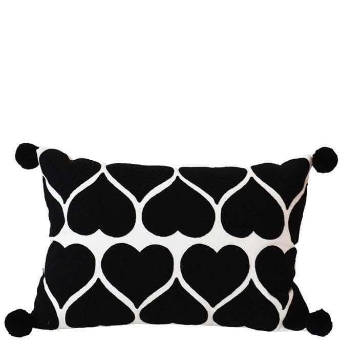Bombay Duck Embroidered Heart Black on White Cushion