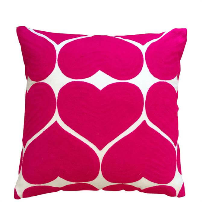 Bombay Duck Embroidered Heart Cushion