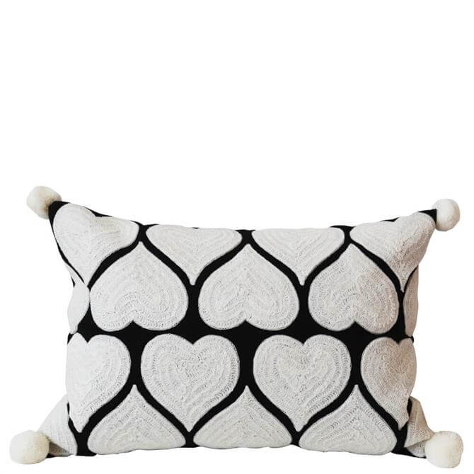 Bombay Duck Embroidered Heart White on Black Cushion