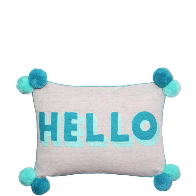 Bombay Duck Hello Turquoise/Teal Cushion