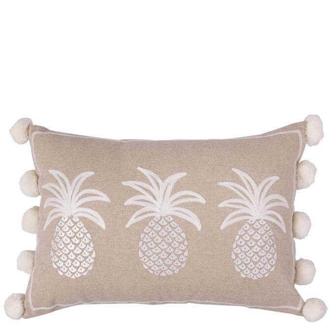 Bombay Duck Row of Three Pineapples White on Beige Cushion
