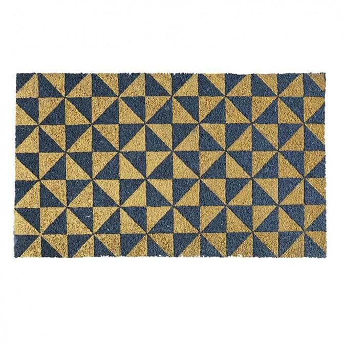 Bombay Duck Gold Triangles Grey Door Mat