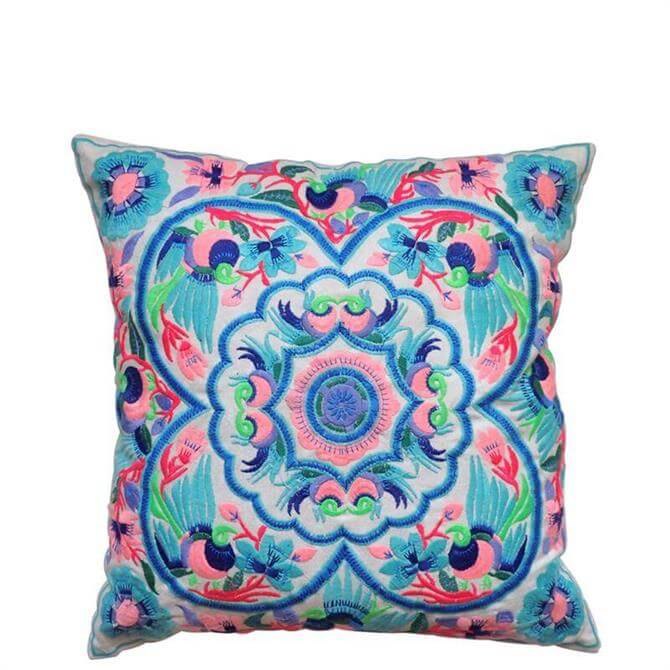 Bombay Duck Acapulco Blue & Pink Embroidered Cushion