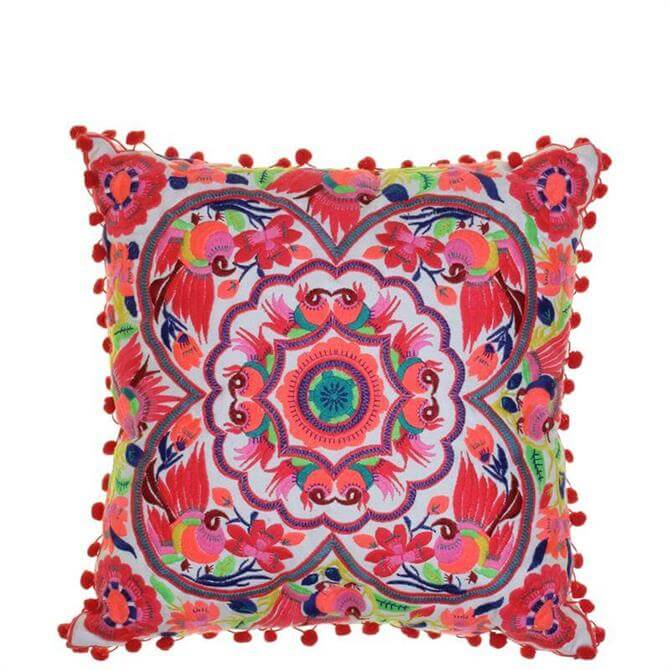 Bombay Duck Acapulco Coral Embroidered Cushion