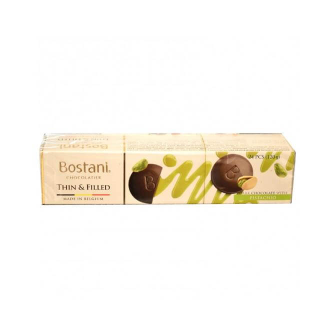 Bostani Thin and Filled - Dark Chocolate Discs with Pistachio 120g