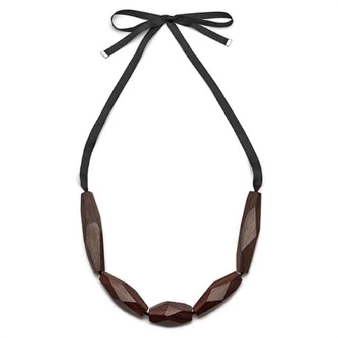 Branch Wood Faceted Bead Necklace