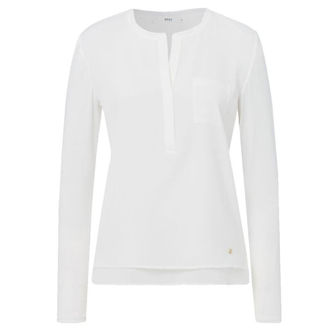 Brax Clarissa Off-White V-Neck Long Sleeved Top