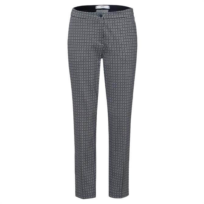 Brax Maron Grey Patterned Slim City Trousers