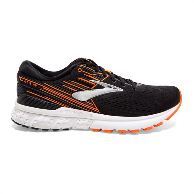 Brooks Men's Adrenaline GTS 19 Running Shoe - Black / Orange / Silver