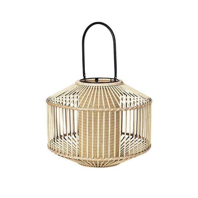 Broste Lantern Flax Bamboo Glass Small