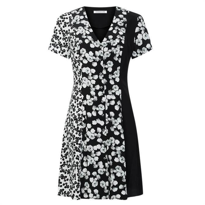 Calvin Klein Floral Panelled Mini Dress