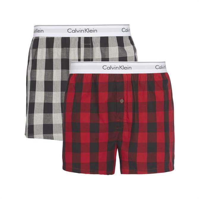 Calvin Klein 2 Pack Slim Woven Check Print Boxers