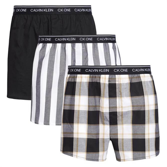 Calvin Klein Ck One Mixed Pattern 3 Pack Slim Fit Boxers