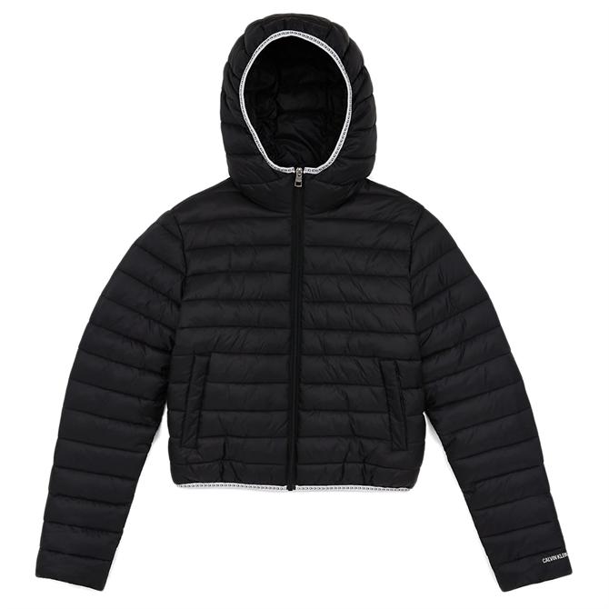 Calvin Klein Hooded Logo Trim Puffer Jacket