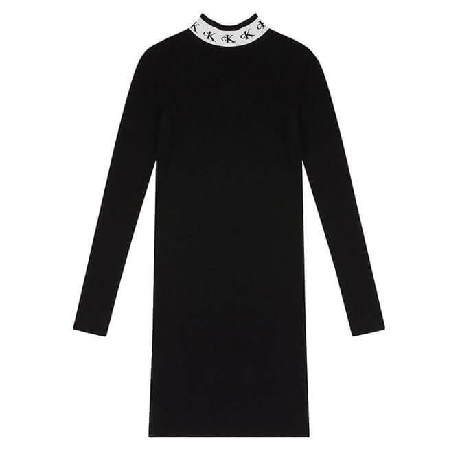 Calvin Klein Logo Collar Sweater Dress
