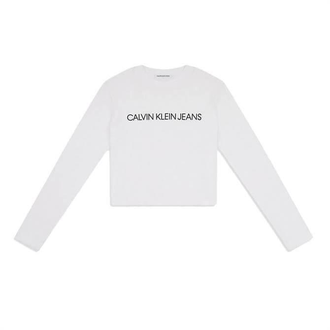 Calvin Klein Cropped Long Sleeve Logo Top