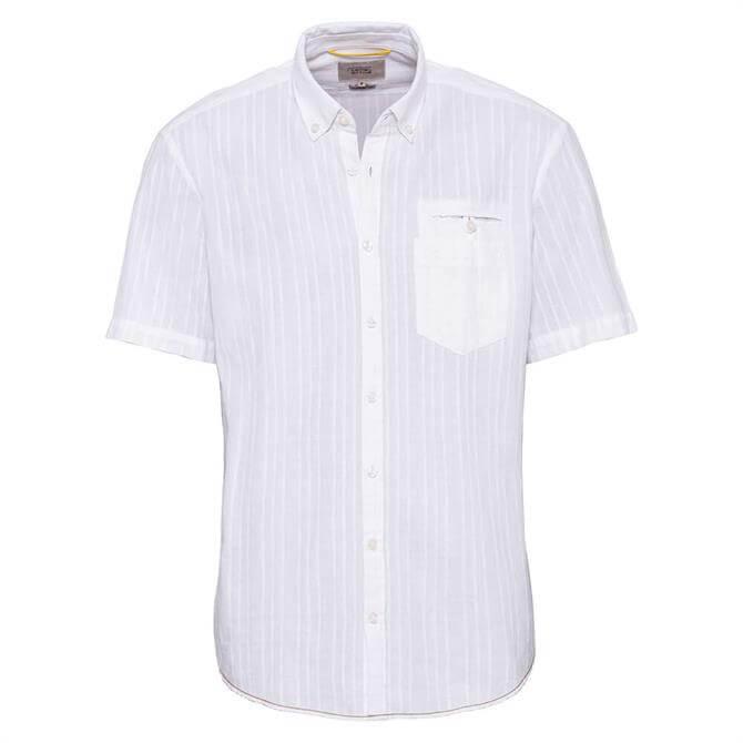 Camel Active White Striped Short Sleeve Shirt