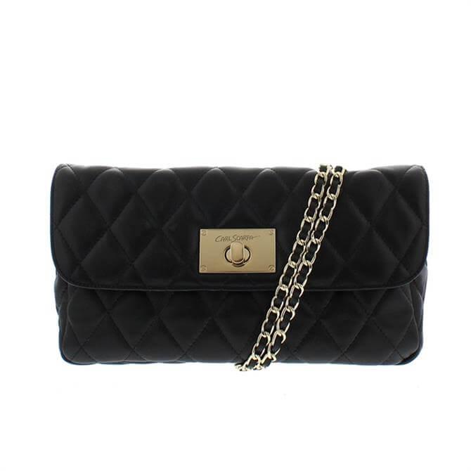 Carl Scarpa Felicia Black Leather Quilted Handbag