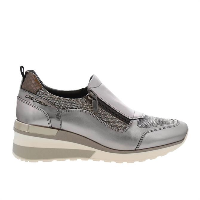 Carl Scarpa Abbey Chrome Leather Wedge Trainers