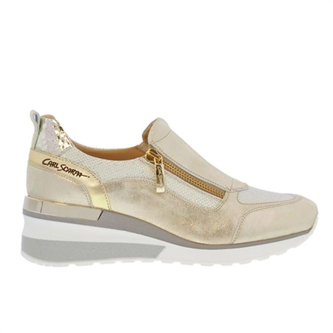 Carl Scarpa Abbey Gold Leather Wedge Trainers