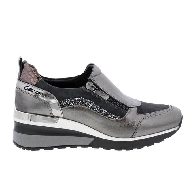 Carl Scarpa Abbey Grey Leather Wedge Trainers