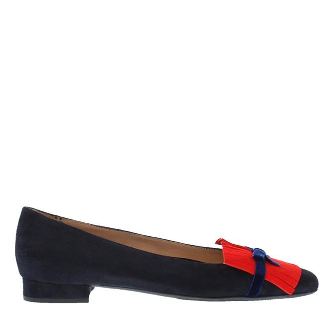 Carl Scarpa Annabelle Navy and Red Suede Ballet Flats