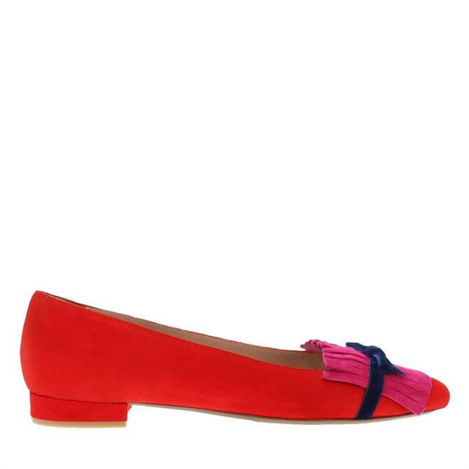 Carl Scarpa House Collection Annabelle Red and Pink Suede Ballet Flats