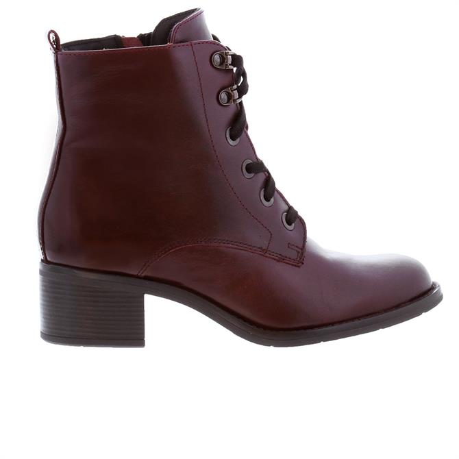 Carl Scarpa Apella Burgundy Mid Heel Lace-Up Ankle Boots