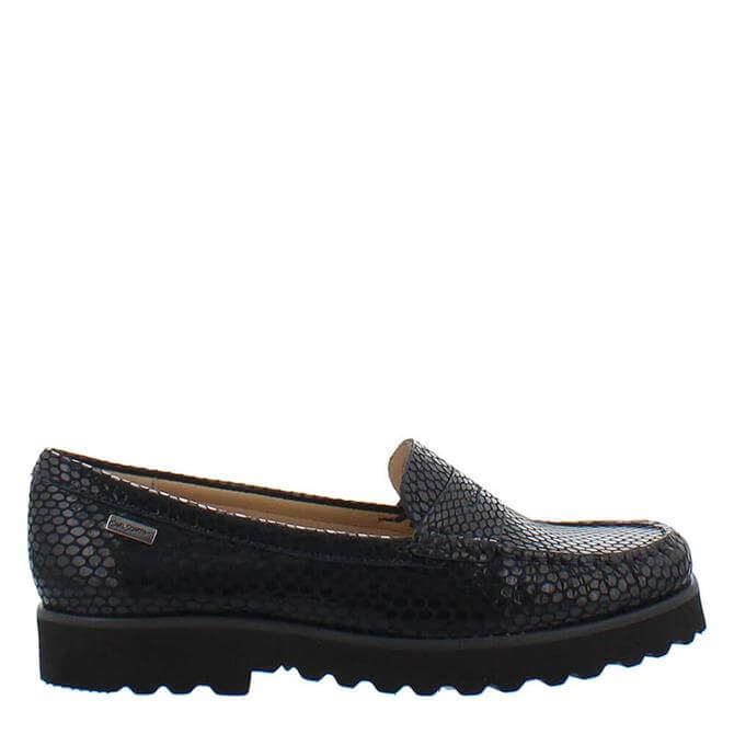 Carl Scarpa Arlette Navy Python Effect Leather Loafers