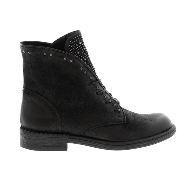 Carl Scarpa Axelina Black Leather Studded Ankle Boots