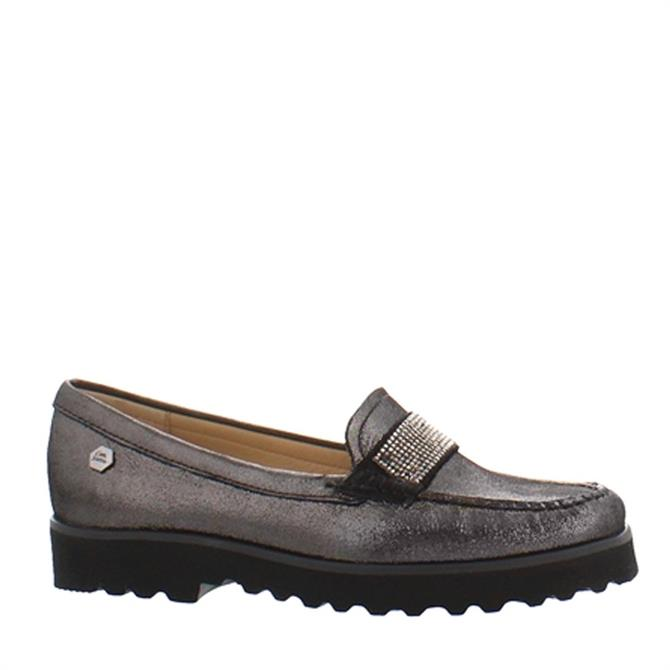 Carl Scarpa Bailee Pewter Glitz Diamonte Embellished Loafers