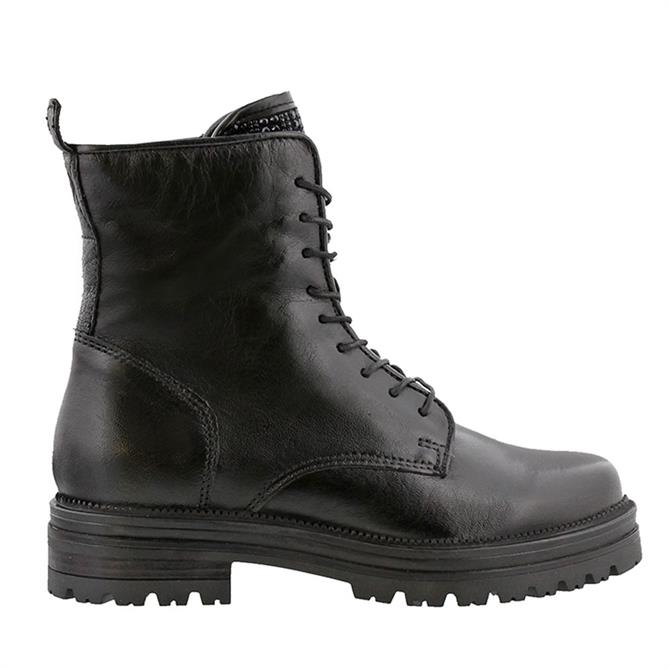 Carl Scarpa Barbara Lace-up Black Leather Boots