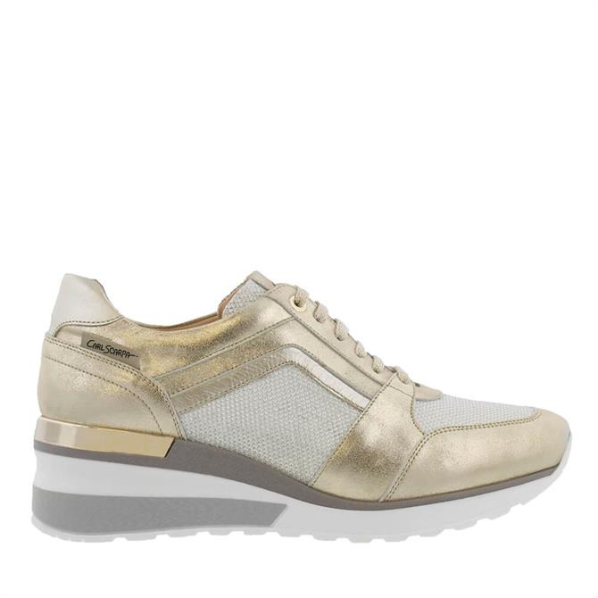 Carl Scarpa House Collection Carmenta Gold Wedge Trainers