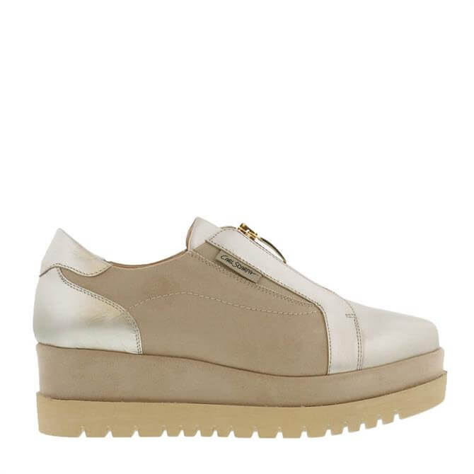 Carl Scarpa House Collection Charlize Gold Leather and Suede Platform Trainers