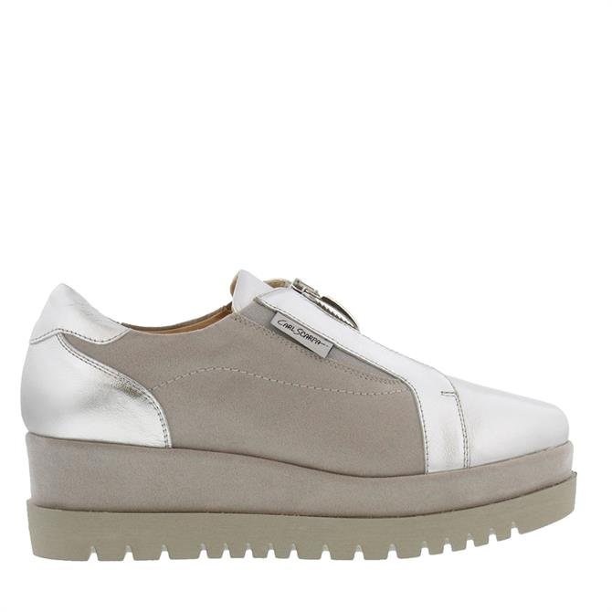 Carl Scarpa Charlize Silver Leather and Suede Platform Trainers