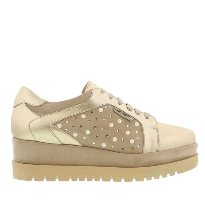 Carl Scarpa Chevelle Platfrom Gold Trainers
