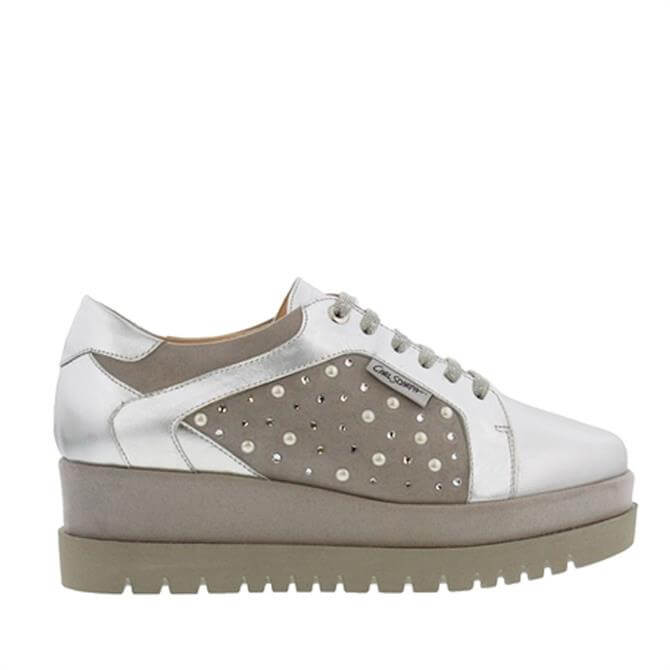 Carl Scarpa Chevelle Platfrom Silver Trainers
