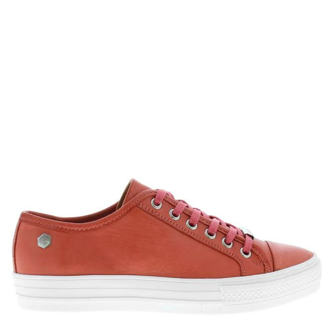 Carl Scarpa Coraline Coral Leather Trainers