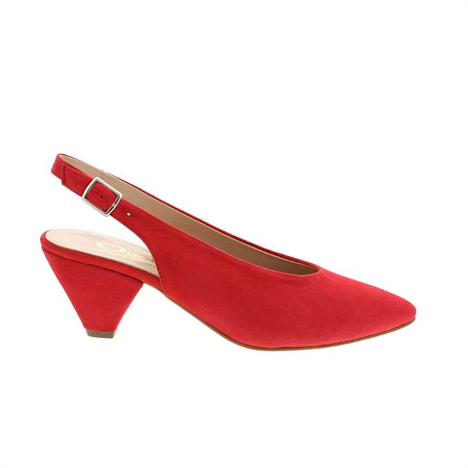 Carl Scarpa Dolce Red Suede Slingback Court Shoes