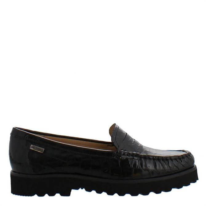 Carl Scarpa Arlette Black Croc Effect Leather Loafers