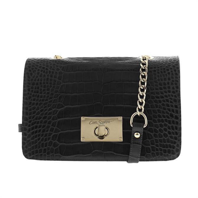Carl Scarpa Fidela Black Croc Effect Leather Handbag