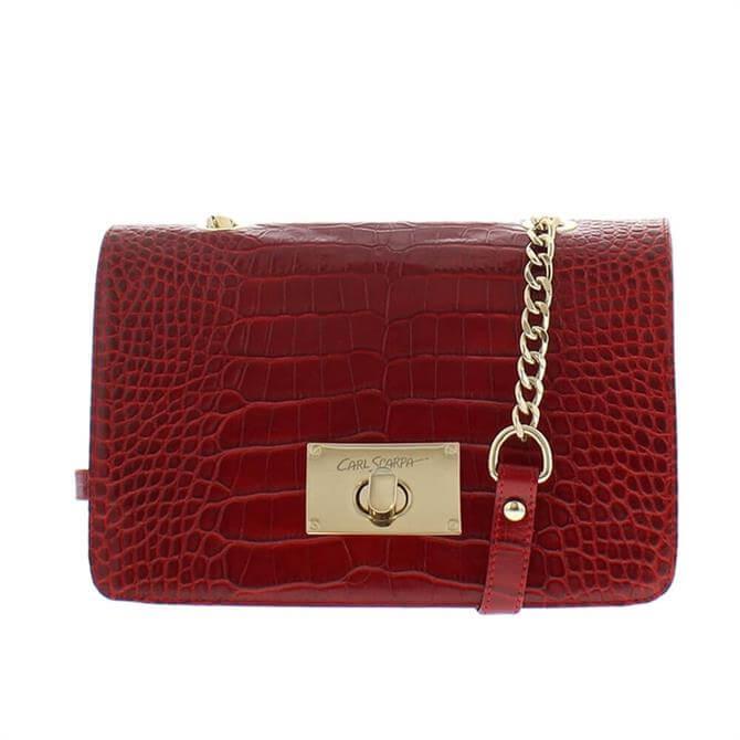 Carl Scarpa Fidela Red Croc Effect Leather Handbag