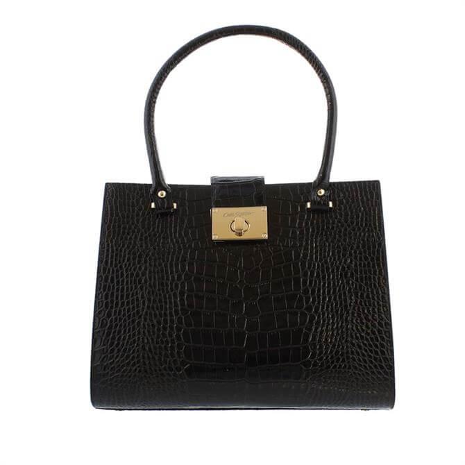 Carl Scarpa House Collection Fonda Black Leather Croc Effect Grab Bag