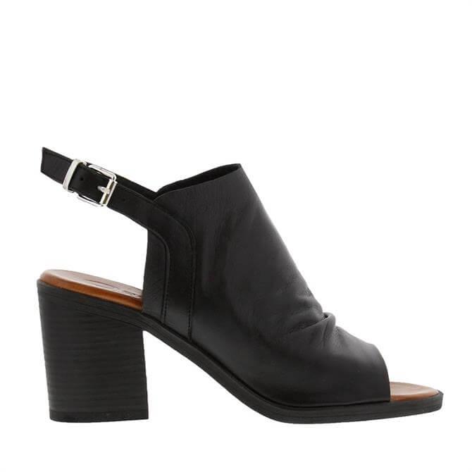 Carl Scarpa Giselle Black Leather Mid-Heel Sandals