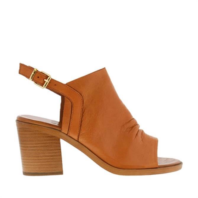 Carl Scarpa Giselle Tan Leather Mid-Heel Sandals