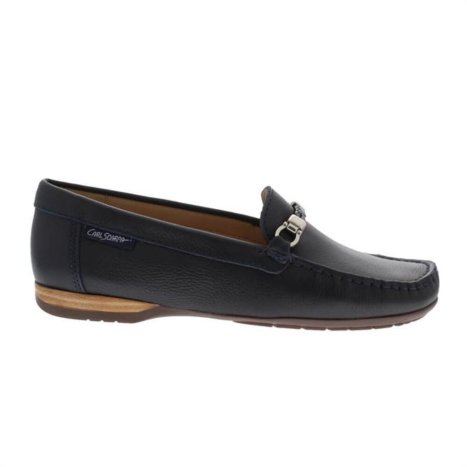 Carl Scarpa Helga Navy Leather Loafers