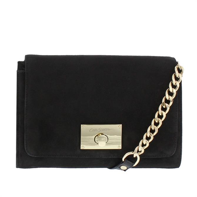 Carl Scarpa House Collection Fusana Black Suede Italian Handbag