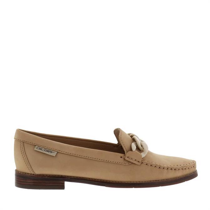 Carl Scarpa Janelle Beige Nubuck Leather Loafers