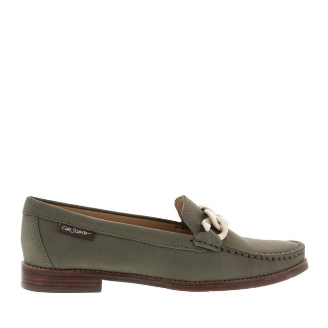 Carl Scarpa Janelle Khaki Nubuck Leather Loafers